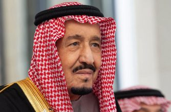 "A handout picture provided by the Saudi Royal Palace on November 20, 2019 shows Saudi Arabia's King Salman bin Abdulaziz arriving to address the Shura council, a top advisory body, in the capital Riyadh. - Saudi Arabia's King Salman urged arch-rival Iran to abandon an expansionist ideology that has ""harmed"" its own people, following violent street protests in the Islamic republic. (Photo by Bandar AL-JALOUD / Saudi Royal Palace / AFP) / RESTRICTED TO EDITORIAL USE - MANDATORY CREDIT ""AFP PHOTO / SAUDI ROYAL PALACE / BANDAR AL-JALOUD"" - NO MARKETING - NO ADVERTISING CAMPAIGNS - DISTRIBUTED AS A SERVICE TO CLIENTS"