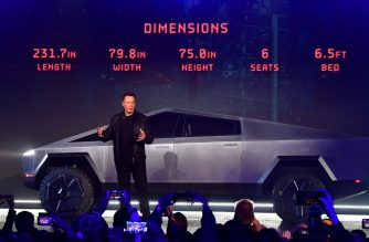 Tesla co-founder and CEO Elon Musk discusses vehicle dimensions in front of the newly unveiled all-electric battery-powered Tesla Cybertruck at Tesla Design Center in Hawthorne, California on November 21, 2019. (Photo by Frederic J. BROWN / AFP)