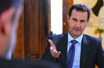 "A handout picture released by the official Syrian Arab News Agency (SANA) on November 28, 2019 shows Syrian President Bashar al-Assad gesturing during an interview given to French Paris Match Magazine. (Photo by - / SANA / AFP) / == RESTRICTED TO EDITORIAL USE - MANDATORY CREDIT ""AFP PHOTO / HO / SANA"" - NO MARKETING NO ADVERTISING CAMPAIGNS - DISTRIBUTED AS A SERVICE TO CLIENTS =="