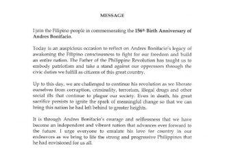 Bonifacio Day message of Philippine president Rodrigo Duterte