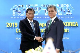 President Rodrigo Roa Duterte and Republic of Korea President Moon Jae-in pose for posterity prior to the start of their bilateral meeting at The Westin Chosun Busan Hotel on November 25, 2019. ROBINSON NIÑAL JR./PRESIDENTIAL PHOTO