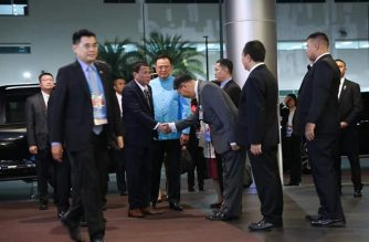 President Rodrigo Duterte is sent off to the Philippines from the Don Mueang International Airport in Thailand after a four-day visit. /PCOO/