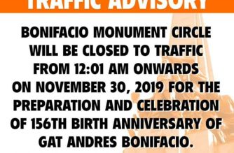 Bonifacio Monument Circle closed to motorists today, Nov. 30