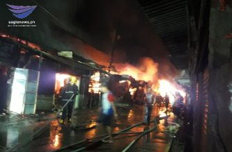 Firefighters are still trying to put out the fire that hit the Galas market on Friday, Nov. 8./Mayette Quilang/Eagle News/
