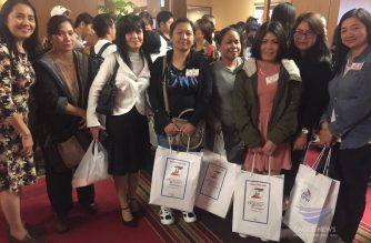 Some of the guests and overseas Filipino workers in Japan who benefited from the Iglesia Ni Cristo (INC) Aid to Humanity held in Tokyo on Nov. 3. 2019.