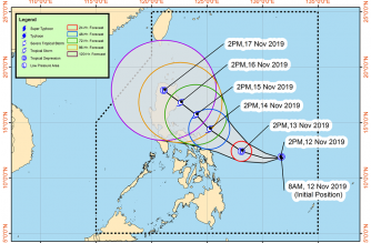 Tropical Cyclone Wind Signal No. 1 hoisted over Eastern Samar, portion of Northern Samar