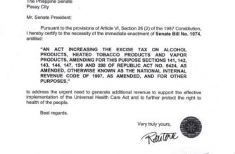 Duterte certifies as urgent bill seeking higher excise taxes for alcohol, e-cigarettes
