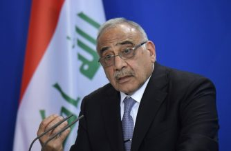 (FILES) In this file photo taken on April 30, 2019, Iraqi Prime Minister Adel Abdel Mahdi speaks during a press conference at the German Chancellery in Berlin. - Iraq's parliament approved the resignation of the embattled cabinet today after two months of violent unrest that have left more than 420 people dead and thousands mourning them in nationwide marches. (Photo by Tobias SCHWARZ / AFP)