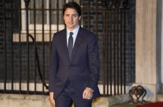 Canada's Prime Minister Justin Trudeau leaves 10 Downing Street in central London on December 3, 2019, after attending a reception hosted by Britain's Prime Minister Boris Johnson ahead of the NATO alliance summit. - NATO leaders gather Tuesday for a summit to mark the alliance's 70th anniversary but with leaders feuding and name-calling over money and strategy, the mood is far from festive. (Photo by Niklas HALLE'N / AFP)