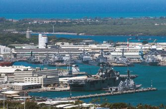 (FILES) This file photo shows a general view of Joint Base Pearl Harbor-Hickam on June 29, 2012 in Pearl Harbor, Hawaii. - At least three people were injured, two of them critically, when a gunman opened fire at the Pearl Harbor Naval Shipyard in Hawaii before taking his own life, local news reports said Wednesday. (Photo by Kent Nishimura / AFP)