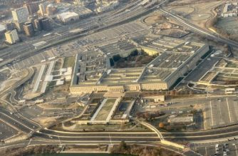 The Pentagon, the headquarters of the US Department of Defense, located in Arlington County, across the Potomac River from Washington, DC is seen from the air on December 8, 2019. (Photo by Daniel SLIM / AFP)