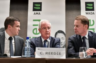 (From L) World Anti-Doping Agency (WADA) President-Elect Witold Banka, WADA President Craig Reedie and WADA Director General Olivier Niggli attend  a press conference  on December 9, 2019 in Lausanne following a meeting of the WADA executive committee which banned Russia from global sporting events including the 2020 Tokyo Olympics and the 2022 Beijing Winter Olympics after accusing Moscow of falsifying data from an anti-doping laboratory. (Photo by Fabrice COFFRINI / AFP)