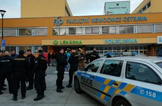 """This handout image published by the Czech police on their twitter account on December 10, 2019 shows policemen standing in front of the Faculty Hospital in Ostrava, eastern Czech Republic, where a gunman opened fire, killing six people. (Photo by HO / Czech Police / AFP) / RESTRICTED TO EDITORIAL USE - MANDATORY CREDIT """"AFP PHOTO / Czech Police """" - NO MARKETING NO ADVERTISING CAMPAIGNS - DISTRIBUTED AS A SERVICE TO CLIENTS"""