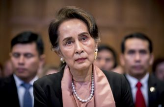 "A handout photo released on December 10, 2019 by the International Court of Justice shows Myanmar's State Counsellor Aung San Suu Kyi attending the start of a three-day hearing on the Rohingya genocide case before the UN International Court of Justice at the Peace Palace of The Hague. - Nobel peace laureate Aung San Suu Kyi faced calls for Myanmar to ""stop the genocide"" of Rohingya Muslims as she personally led her country's defence at the UN's top court on December 10. (Photo by Frank Van BEEK / UN Photo/ICJ / AFP) / RESTRICTED TO EDITORIAL USE - MANDATORY CREDIT ""AFP PHOTO / UN Photo/ICJ/ Frank Van BEEK"" - NO MARKETING NO ADVERTISING CAMPAIGNS - DISTRIBUTED AS A SERVICE TO CLIENTS ---"