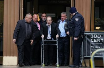 Harvey Weinstein leaves Manhattan Criminal Court, using a walker, following a hearing on December 11, 2019 in New York. - The once-powerful film producer, whose case sparked the #MeToo movement against sexual harassment, appeared for a hearing, as his trial looms on January 6, 2010. The 67-year-old, who faces charges of rape and forcibly performing oral sex on a woman, has had his passport confiscated and wears an electronic tracking bracelet. (Photo by Bryan R. Smith / AFP)
