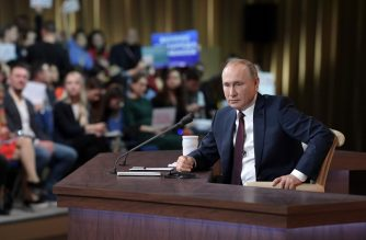 Russian President Vladimir Putin speaks during his annual press conference in Moscow on December 19, 2019. (Photo by Aleksey Nikolskyi / SPUTNIK / AFP)