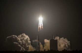 China's heavy-lift Long March 5 rocket blasts off from its launch centre in Wenchang, south China's Hainan province on December 27, 2019. - China on December 27 launched one of the world's most powerful rockets in a major step forward for its planned mission to Mars in 2020. (Photo by STR / AFP) / China OUT