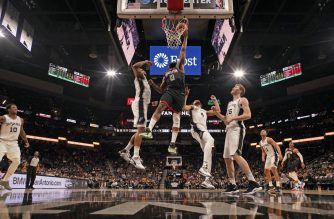 SAN ANTONIO, TX - DECEMBER 3: (Dunk Sequence 3 of 4) James Harden #13 of the Houston Rockets dunks the ball against the San Antonio Spurs on December 3, 2019 at the AT&T Center in San Antonio, Texas. NOTE TO USER: User expressly acknowledges and agrees that, by downloading and or using this photograph, user is consenting to the terms and conditions of the Getty Images License Agreement. Mandatory Copyright Notice: Copyright 2019 NBAE   Darren Carroll/NBAE via Getty Images/AFP