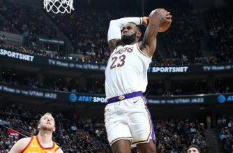 SALT LAKE CITY, UT - DECEMBER 4: LeBron James #23 of the Los Angeles Lakers dunks the ball against the Utah Jazz on December 4, 2019 at vivint.SmartHome Arena in Salt Lake City, Utah. NOTE TO USER: User expressly acknowledges and agrees that, by downloading and or using this Photograph, User is consenting to the terms and conditions of the Getty Images License Agreement. Mandatory Copyright Notice: Copyright 2019 NBAE   Melissa Majchrzak/NBAE via Getty Images/AFP