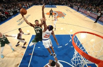Giannis Antetokounmpo #34 of the Milwaukee Bucks shoots the ball during the game against the New York Knicks on December 21, 2019 at Madison Square Garden in New York City, New York. (   Nathaniel S. Butler/NBAE via Getty Images/AFP