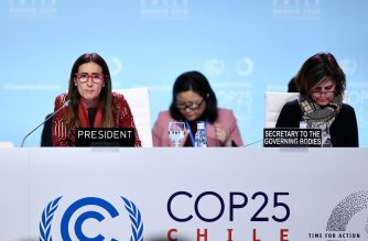 Chile's Minister of Environment and COP25 president Carolina Schmidt (L) attends an Informal Presidency stock-taking plenary during the UN Climate Change Conference COP25 at the 'IFEMA - Feria de Madrid' exhibition center, in Madrid, on December 15, 2019. (Photo by OSCAR DEL POZO / AFP)