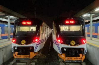 The new railcars from Indonesia that will have an inaugural run today./Goddess Hope Libiran/