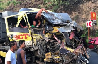 At least nine people were killed in a road mishap involving a jeepney and two trucks in Cardona, Rizal on Tuesday, Dec. 17, the police said./Cardona, Rizal PNP/
