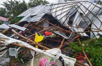 A house is destroyed by Typhoon Kammuri (Philippine name Tisoy) in Masbate province after the typhoon hit the province on Monday, Dec. 2, 2019.  (Photo by Eagle News Service correspondent Ems Cajurao in Masbate/Eagle News Service)
