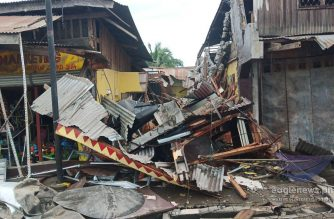 The public market in Padada town in Davao del Sur collapses after the 6.9 magnitude quake struck the province on Sunday afternoon, Dec. 15, 2019.  (Eagle News Service)
