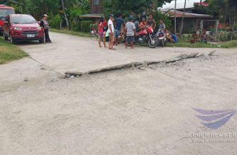 A damaged road is seen in Padada, in Davao del Sur after a 6.9 magnitude quake struck the province on Sunday afternoon, Dec. 15, 2019.  (Eagle News Service)
