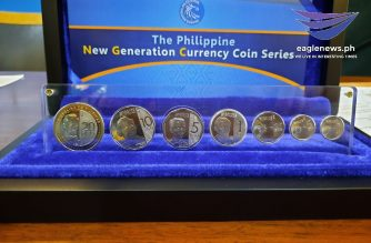 The new P20 coin (leftmost) is featured alongside the others in the BSP's new generation coin currency series./Madz Villar/Eagle News/