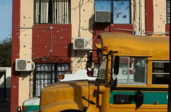 A school bus in Villa Union, in Mexico's Coahuila state, scene of a deadly weekend assault by cartel gunmen.  (AFP photo)