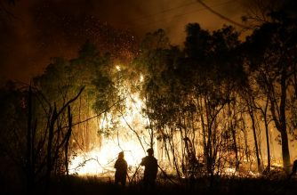 Firefighters battle a blaze on Fingerfield road at the Deepwater National Park area of Queensland on November 29, 2018. - Thousands of people have been evacuated from their homes in northeastern Australia as bushfires raged across Queensland state amid a scorching heatwave. (Photo by ROB GRIFFITH / AFP)