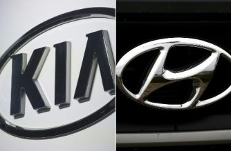 "(COMBO) This combination of pictures created on April 2, 2019 shows the Kia logo in Detroit, Michigan on January 10, 2017, and the Hyundai logo on April 7, 2017 in Colma, California. - US authorities said April 1, 2019 that they have opened two separate investigations into automakers Kia and Hyundai after receiving more than 3,100 complaints of ""non-crash fires"" affecting vehicles from both manufacturers.The incidents are linked to one death and more than 100 injuries to date, according to the National Highway Traffic Safety Administration (NHTSA) road transport regulator. (Photos by SAUL LOEB and JUSTIN SULLIVAN / various sources / AFP)"