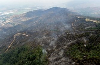 Aerial view of an area burnt by a forest fire on September 13, 2019 in Cali, Colombia, north of the Amazon basin. - The Colombian national police and air force patrol forests from the air to detect fires and help fight them. (Photo by Luis ROBAYO / AFP)