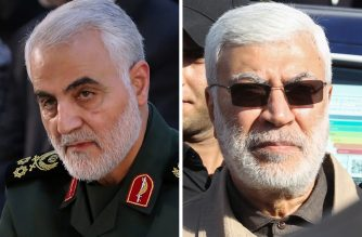 "(COMBO) This combination of file photos shows a handout picture provided by the office of the Iranian Ayatollah Ali Khamenei on June 4, 2019 of Iranian Major General in the Islamic Revolutionary Guard Corps (IRGC) Qasem Soleimani (L) in Tehran; and a file photo taken on December 31, 2019 of Abu Mahdi al-Muhandis (R), a commander in the Popular Mobilization Forces, attending a funeral procession of Hashed al-Shaabi fighters in Baghdad. - A US strike killed top Iranian commander Qasem Soleimani and the deputy head of Iraq's Hashed al-Shaabi military force, Abu Mahdi al-Muhandis, at Baghdad's airport early on January 3, 2019, the Hashed announced. (Photo by Handout and Ahmad AL-RUBAYE / IRANIAN SUPREME LEADER'S WEBSITE / AFP) / --- RESTRICTED TO EDITORIAL USE - MANDATORY CREDIT ""AFP PHOTO / KHAMENEI.IR"" - NO MARKETING - NO ADVERTISING CAMPAIGNS - DISTRIBUTED AS A SERVICE TO CLIENTS"