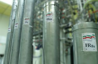 """(FILES) In this handout file picture provided by Iran's Atomic Energy Organization on November 4, 2019, shows IR-8 centrifuges at Natanz nuclear power plant, some 300 kilometres south of capital Tehran. - Iran announced a more than tenfold increase in enriched uranium production following a series of steps back from commitments under a 2015 nuclear deal abandoned by the United States. (Photo by HO / Atomic Energy Organization of Iran / AFP) / === RESTRICTED TO EDITORIAL USE - MANDATORY CREDIT """"AFP PHOTO / HO / ATOMIC ENERGY ORGANIZATION OF IRAN"""" - NO MARKETING NO ADVERTISING CAMPAIGNS - DISTRIBUTED AS A SERVICE TO CLIENTS ==="""