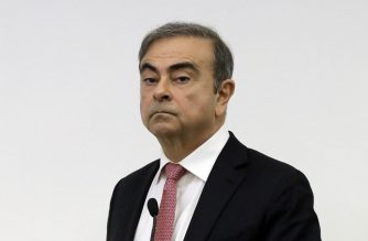 Former Renault-Nissan boss Carlos Ghosn looks on before addressing a large crowd of journalists on his reasons for dodging trial in Japan, where he is accused of financial misconduct, at the Lebanese Press Syndicate in Beirut on January 8, 2020. - Ghosn arrived at the venue, making his first public appearance since skipping bail in Japan. The fugitive tycoon, who denies any wrongdoing, skipped bail while awaiting trial on multiple charges of financial misconduct including allegedly under-reporting his compensation to the tune of $85 million. (Photo by JOSEPH EID / AFP)