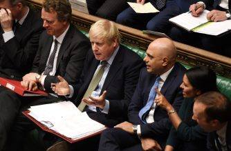 "A handout photograph taken and released by the UK Parliament on January 8, 2020, shows Britain's Prime Minister Boris Johnson taking part in the first Prime Minister's Questions of the new year. (Photo by JESSICA TAYLOR / UK PARLIAMENT / AFP) / RESTRICTED TO EDITORIAL USE - NO USE FOR ENTERTAINMENT, SATIRICAL, ADVERTISING PURPOSES - MANDATORY CREDIT "" AFP PHOTO / Jessica Taylor /UK Parliament"""