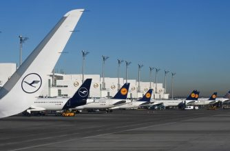 (FILES) A file photo taken on February 18, 2019 shows parked planes at the Lufthansa terminal of the Franz-Josef-Strauss airport in Munich, southern Germany. - Lufthansa said on January 10, 2020 it was cancelling all flights to and from Tehran until January 20, following suggestions that Iran may have mistakenly shot down a Ukrainian passenger plane earlier this week. (Photo by Christof STACHE / AFP)