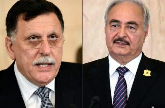 (L)Libya's UN-backed Prime Minister Fayez al-Sarraj speaking during a press conference in the capital Tunis on August 7, 2017 and (R) Libyan General Khalifa Haftar speaking during a press conference on September 18, 2017 at Carthage Palace in Tunis.