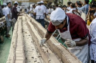A baker prepares an approximatively 6.5-km long cake as a attempt aim to break the Guinness World Record for the longest cake, in Thrissur in south Indian state of Kerala on January 15, 2020. (Photo by Arun SANKAR / AFP)