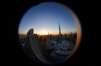 This picture taken with a fisheye lens on January 18, 2020 shows a view of Burj Khalifa, the tallest structure and building in the world since 2009 (total heigh with antenna of 829.8 metres), in the city centre of the Gulf emirate of Dubai. (Photo by GIUSEPPE CACACE / AFP)