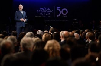 World Economic Forum (WEF) founder and executive chairman Klaus Schwab attends a ceremony to mark the 50th anniversary of World Economic Forum during the WEF's annual meeting in Davos, on January 20, 2020. (Photo by Fabrice COFFRINI / AFP)