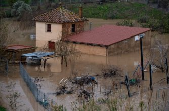 A flooded house is pictured in Malgrat de Mar, near Girona on January 22, 2020, as storm Gloria batters Spanish eastern coast. - A winter storm which has killed three people lashed much of eastern Spain, cutting power, forcing the closure of schools and severing road and rail links. National weather agency Aemet placed most of northeastern Spain on alert because of the storm packing gusts of over 100 kilometres (60 miles) per hour, heavy snowfall, freezing rain and massive waves which smashed into seafront promenades, damaging shops and restaurants. (Photo by Josep LAGO / AFP)