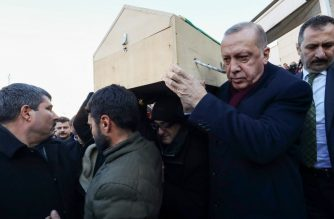 "A handout picture taken and released on January 25, 2020 by the Turkish Presidential Press service shows Turkish President Recep Tayyip Erdogan (R) carrying a casket during a funeral of two victims of a 6.8 magnitude earthquake in Elazig, eastern Turkey. - Rescue workers raced against time on January 25 to find survivors under the rubble after a powerful earthquake claimed 22 lives and left more than 1,200 injured in eastern Turkey. The magnitude 6.8 quake struck in the evening of January 24, with its epicentre in the small lakeside town of Sivrice in Elazig province, and was felt across neighbouring countries. (Photo by Murat CETINMUHURDAR / TURKISH PRESIDENTIAL PRESS SERVICE / AFP) / RESTRICTED TO EDITORIAL USE - MANDATORY CREDIT ""AFP PHOTO / TURKISH PRESIDENTIAL PRESS SERVICE / MURAT CETINMUHURDAR"" - NO MARKETING NO ADVERTISING CAMPAIGNS - DISTRIBUTED AS A SERVICE TO CLIENTS --- / ""The erroneous mention[s] appearing in the metadata of this photo by Murat CETINMUHURDAR has been modified in AFP systems in the following manner: ADDING RESTRICTIONS. Please immediately remove the erroneous mention[s] from all your online services and delete it (them) from your servers. If you have been authorized by AFP to distribute it (them) to third parties, please ensure that the same actions are carried out by them. Failure to promptly comply with these instructions will entail liability on your part for any continued or post notification usage. Therefore we thank you very much for all your attention and prompt action. We are sorry for the inconvenience this notification may cause and remain at your disposal for any further information you may require."""