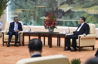 World Health Organization director general Tedros Adhanom (L) attends a meeting with Chinese President Xi jinping at the Great Hall of the People in Beijing on January 28, 2020. - China urged its citizens to postpone travel abroad as it expanded unprecedented efforts to contain a viral outbreak that has killed 106 people and left other governments racing to pull their nationals from the contagion's epicentre. (Photo by Naohiko Hatta / AFP)