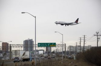 TORONTO, ON - MARCH 13: An Air Canada Boeing 737 MAX 8 jet approaches the Toronto Pearson International Airport for a landing on March 13, 2019 in Toronto, Canada. U.S. President Donald Trump announced today that all 737 MAX 8 jets would be suspended from use following the recent crashes in Indonesia and Ethiopia. Several other countries, including Canada, China, and Australia have announced that they would also be grounding the jets.   Cole Burston/Getty Images/AFP