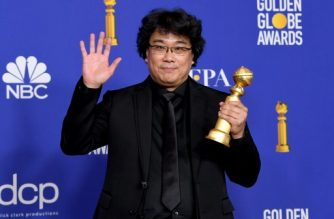 "BEVERLY HILLS, CALIFORNIA - JANUARY 05: Bong Joon-ho poses in the press room with award for Best Motion Picture - Foreign Language for ""Parasite"" during the 77th Annual Golden Globe Awards at The Beverly Hilton Hotel on January 05, 2020 in Beverly Hills, California.   Kevin Winter/Getty Images/AFP"