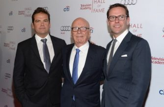 BEVERLY HILLS, CA - MARCH 11: Lachlan Murdoch, Rupert Murdoch and James Murdoch attend The Television Academy's 23rd Hall Of Fame Induction Gala at Regent Beverly Wilshire Hotel on March 11, 2014 in Beverly Hills, California.   Jason Kempin/Getty Images/AFP